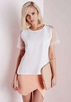 Missguided - Mesh Sleeve Shell Top White