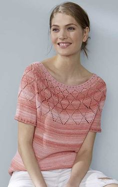 Free Knitting Pattern for a Top Down Shirt. Skill Level: Easy Top-down shirt with ajour pattern knitted with Summer Ombré. Free Pattern More Patterns Like This! Baby Knitting Patterns, Lace Knitting, Rowan Knitting, Summer Knitting, Top Pattern, Free Pattern, Pulls, Sweaters, Top Free