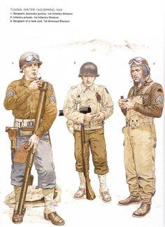 U.S.ARMY, TUNISIA 1942-43 - 1 Sergeant, bazooka gunner, 1st Infantry Division - 2 Private, 1st Infantry Division - 3 Sergeant of a tank unit, 1st Armoured Division