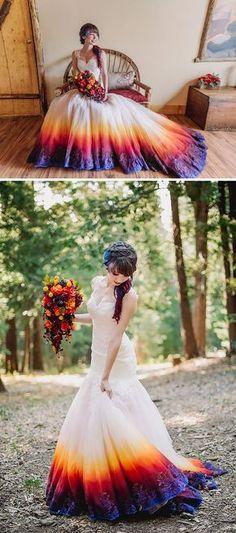 Nouvelle mode : colorer le bas de sa robe pour égayer son mariage                                                                                                                                                                                 Plus