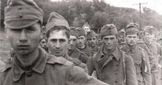Axis Hungarian soldiers taken as POWs by Soviet forces at the first Battle of Voronezh are photographed at a prisoner of war collection center. The battle was a fought in and around the strategically important city of Voronezh on the Don river, Operation Barbarossa, Ww2 Pictures, Central And Eastern Europe, War Dogs, Prisoners Of War, Red Army, European History, World War Two, Wwii