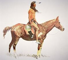 Wild West Paintings - A Cheyenne Brave  by Frederic Remington