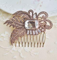 Bridal Rhinestone Hair Comb, Vintage Brooch Comb, Repurposed Glass & Brass,Gold, Crystal, Bridal, Weddings, Shabby Chic on Etsy, $34.00