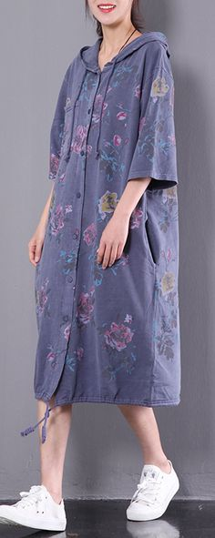 dark blue print cotton dress vintage plus size casual dresses hooded half sleeve clothes