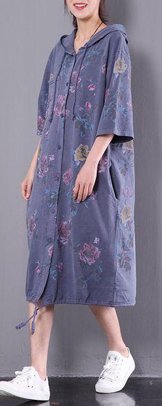 dark blue print cotton dress vintage plus size casual dresses hooded half sleeve clothes