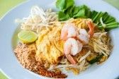 Stir-fried rice noodles with egg, and shrimp (Pad Thai) stock photography