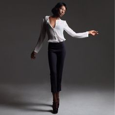 Very classy pants for any sophisticated event. Check out DishFashion.com for more sophisticated pieces. 20% off your first order! Short pants  #pants #classy #trendy #fashion