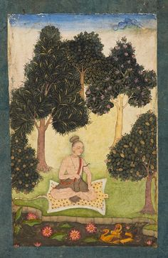 A yogini (female ascetic) has retired to the forest to meditate, sits holding her prayer-beads by a stream. Her leopard skin seat signifies the true yogi's conquest of the lower, animal urges. north India, c. 1620