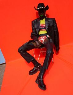 Adut Akech Saddles Up In WOW Images by Viviane Sassen for Dazed Magazine Autumn 2019 — Anne of Carversville Design Set, Black Pics, Wow Image, Denim Waistcoat, Viviane Sassen, Dazed Magazine, Jackie Aina, Leather Blazer, Leather Skirt