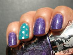 Purple Sparkles + Blue Accent Nail with White Polka Dots