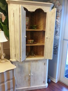 This Gorgeous Distressed Corner Cabinet Made Of Rustic Pine And White Wash  Finish. TCC $699.00
