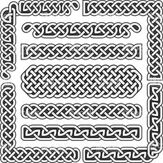Illustration about Celtic knots medieval seamless borders, patterns, and ornament corners. Structure of scottish pattern illustration. Illustration of medieval, graphic, brushes - 77952877 Celtic Symbols, Celtic Art, Celtic Knots, Celtic Pride, Celtic Dragon, Design Celta, Celtic Border, Viking Pattern, Medieval