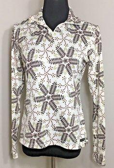 Athleta S Shirt Beige 1/4 Zip Floral Brown Green Peach #Athleta #Athletic #Casual