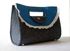 Trachten Handtasche Filz schwarz/blau - romantisch & edel