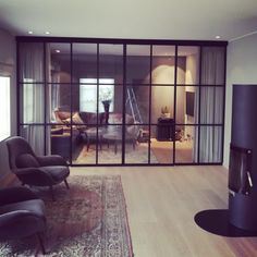 Glass wall / room divider / interior door / iron / wrought iron / steel / metal door and .- Glassvegg/romdeler/innerdør/dør i jern/smijern/stål/m. Doors Interior, Wrought Iron Glass, Iron Doors, Home, Room Divider Doors, Living Room Grey, Living Room Decor Gray, Steel Doors, Room