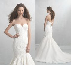 2015 Madison James Bridal Gowns Mermaid Appliqued Tulle Sexy Wedding Dresses with Sweetheart Neck And Chapel Train Sleeveless Romantic from Nicedressonline,$178.02 | DHgate.com