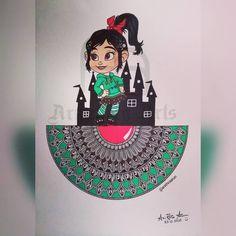 Vanellope 👸 Mandala Design, Mandala Art, Disney Princesses, Zentangle, Doodles, Zentangle Patterns, Zentangles, Disney Princess, Donut Tower