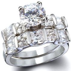 Diana's Sterling Silver CZ Wedding Ring Set Fantasy Jewelry Box. $59.95. High Quality Cubic Zirconia. .925 Sterling Silver. 1/4 Inch Wide. Rhodium Electroplated. Clear
