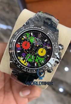 We have the stylish and brand new collection of ROLEX DiW available online in better price. Our new set of DiW Daytona watch comes with original box, paper and 7 years international factory warranty. Daytona Watch, Tourbillon Watch, Men Closet, Expensive Watches, Hand Watch, Watch Model, Mechanical Watch, Luxury Watches For Men, Rolex Watches