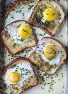 French Baked Toast and Eggs in Cream...so decadent, so delicious! Yes please!