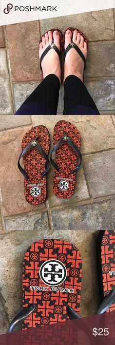 Tory Burch Orange and Navy Flip Flops Gently worn, Tory Burch rubber flip flops Tory Burch Shoes Sandals