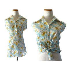 Floral Sleeveless Blouse 70s Top Button Up Shirt Summer Lightweight Mod Flower Print 1970s Size Large 36