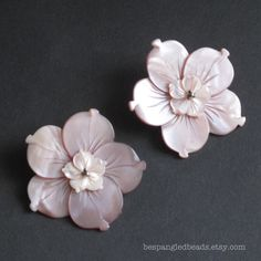 Large Pink Mother of Pearl Double Carved Tropical Flower Focal Beads / Pendants, 38mm (SET OF 2). $14.00  #beads #supply #jewelry