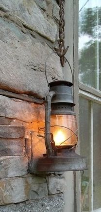 Pretty great idea for exterior lighting. Rustic Light Fixtures, Rustic Lighting, Outdoor Lighting, Western Decor, Rustic Decor, Old Lanterns, Exterior Lighting, Cabins In The Woods, Interior Exterior