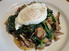Poached Egg over Greens and Shiitake Mushrooms | Elissa Goodman