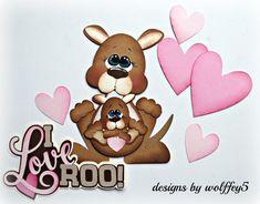 ELITE4U KANGAROO LOVE  premade paper piecing scrapbook diecut piece page WOLFFEY #wolffey5