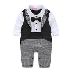 bebe Baby Gentleman Tuxedo Rompers Bebe Menino infant Suit For Wedding Newborn Boys Jumpsuit Neck Tie Baby Wedding Suit Party Clothes 赤ちゃん紳士タキシードロンパースBebe Menino幼児スーツの結婚式Newb – eosegal Toddler Jumpsuit, Toddler Vest, Baby Jumpsuit, Baby Boy Romper, Baby Outfits Newborn, Baby Boy Outfits, Kids Outfits, Newborn Boys, Baby Wedding Suits