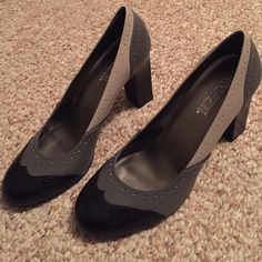 Grey and black wing tip heels. Never worn. New without tags. Franco fortini Shoes Heels