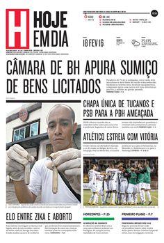 Capa do dia 18/02/2016 #HojeEmDia #Jornal #Notícias #News #Newspaper