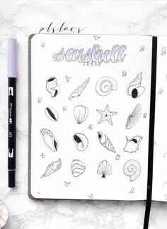 Seashell doodles by ig bullet journal doodles doodli Bullet Journal June, Bullet Journal Themes, Bullet Journal Layout, Bullet Journal Inspiration, Bujo Inspiration, Bullet Journal Aesthetic, Mood Tracker, Bujo Doodles, Drawings