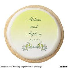 Yellow Floral Wedding Sugar Cookies