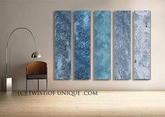 Blue Steel Abstract Paintings 5 panel 60 Inches by TwistOfUnique, $1493.00