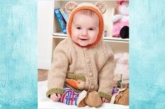 Baby Bear Hoodie Free Knitting Pattern from Red Heart Yarns Baby Knitting Patterns, Teddy Bear Knitting Pattern, Knitting For Kids, Baby Patterns, Free Knitting, Crochet Patterns, Vintage Patterns, Sewing Patterns, Knit Baby Sweaters