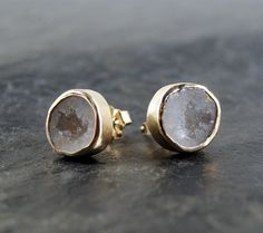 White Round Druzy Geode Studs in 14K Solid Yellow by anatomi, $325.00