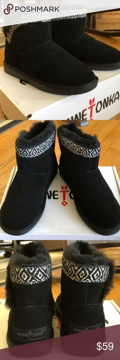 NEW Minnetonka Middleton booties. Adorable short boots, comes New in box.  Minnetonka warmth and quality. Just super cute! Minnetonka Shoes Winter & Rain Boots