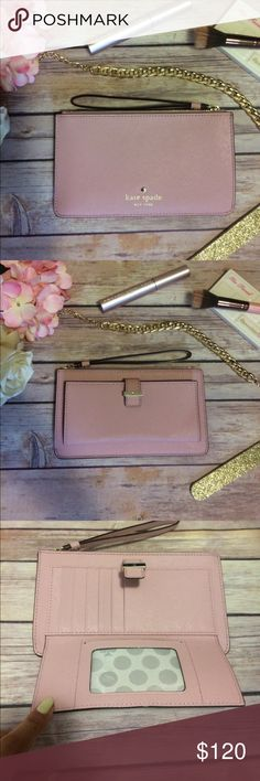 kate spade blush pink wristlet Authentic saffiano leather Kate Spade wristlet wallet with card slots and id holder kate spade Bags Clutches & Wristlets