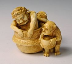 Ivory Netsuke-Shoki being scrubbed by two Oni- Now in my collection