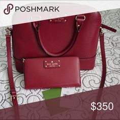 Kate Spade Wellesley Red Plum Set Mint condition satchel. Wallet is brand new with tags. kate spade Bags Satchels