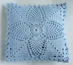 Denim Cushion cover with ice blue crochet front panel. Etsy.