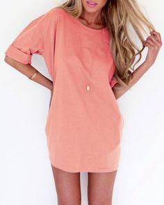 Fashionable Solid Color Scoop Neck Short Sleeve Dress For Women Club Dresses | RoseGal.com Mobile