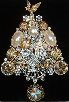 Vintage Jewelry SILVER & GOLD Framed Jeweled Christmas Tree - Sparkly Rhinestones Cottage Chic ~ Pretty ANGEL Top