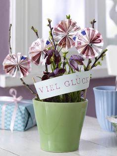 Geldbaum zum Geburtstag! Kreative Idee für ein Geldgeschenk. Noch mehr Ideen gibt es auf www.Spaaz.de