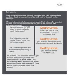 Xbox LIVE's email with images-off could use some serious work! Xbox Live, Email Design, A Decade, Email Marketing, Fun Facts, Things To Come, Content, Inspiration, Image