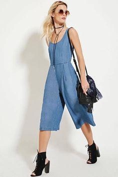 a85b4293d47 Denim chambray culotte jumpsuit Boho Look