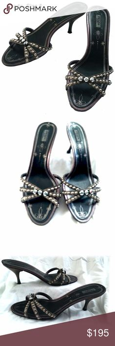 PRADA - Kitten Heel Sandals - Size 5 Condition - Very good.  No visible signs of wear on uppers or heels. There is wear on the sole. Prada Shoes Mules & Clogs