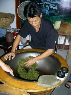 Drying the tea leaves
